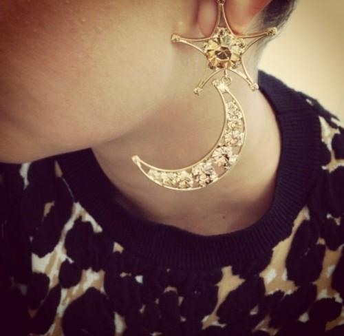 Boucles d'oreilles etoile lune