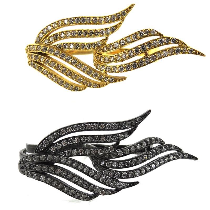 bague double ailes zircons